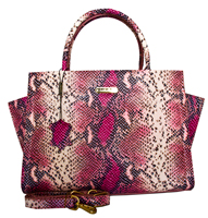 Alba - Italian Leather Snake Print Handbag/Pink-Black
