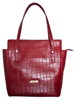 Savona - Italian Leather Croc Print Handbag/Burgundy